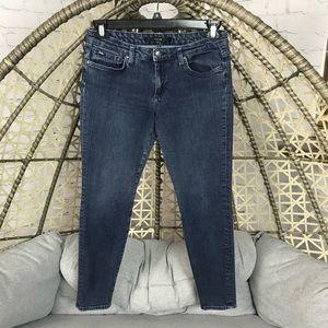 Joe's Stretch Mid Rise Skinny Jeans - Dark Blue